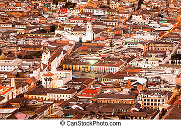 Old Town Of Quito As Seen From Panecillo Statue