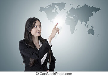 business woman with the world map