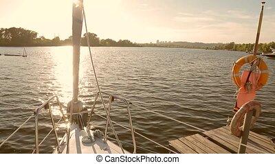 Boat at the pier. Parking of sailing yachts.