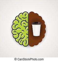 Coffee in human brain. Clean vector