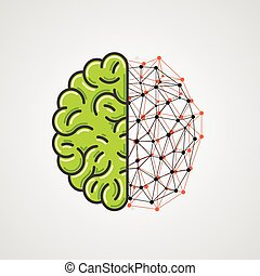 Human brain with network part. Vector