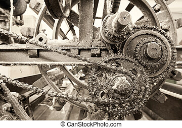 Chain Driven Pulleys On Old Weaving Machine - Vintage...