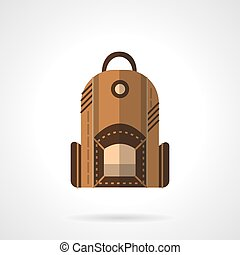 Brown backpack flat vector icon - Travel or school backpack,...