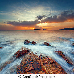 Beautiful seascape at sunset - Beautiful seascape Seascape...