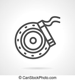 Brake disc simple line vector icon - Car brake disc and...