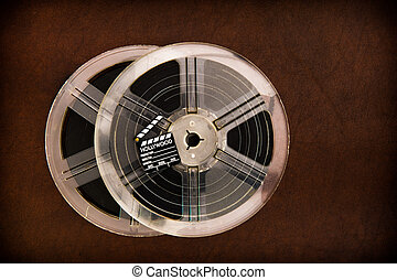Movie clapper board and transparent film reels - Little...