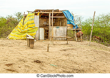 Improvised Sun Shelter - Simple Shelter In A Rural Part Of...
