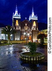 Banos Church Night Shot - La Basilica De Nuestra Senora Del...