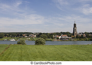 Dutch village on river front - View on the old town of...