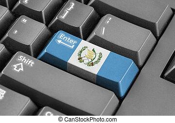 entrar, botón, con, guatemala, bandera,