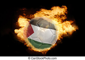 football ball with the flag of palestine on fire - football...