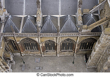 Aerial view on old church in Maastricht - View from church...