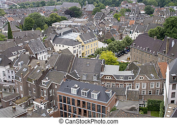 Maastricht houses - High angle view on medieval town of...