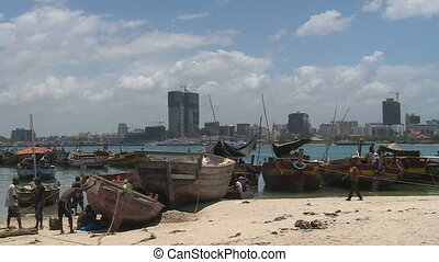 view across the bay to dar es salaa - dar es salaam,...