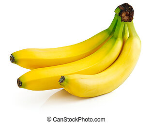 fresh banana fruits isolated on white background with...
