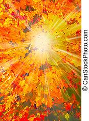 Herbst, landschaftsbild, wald, hintergrund, Herbst