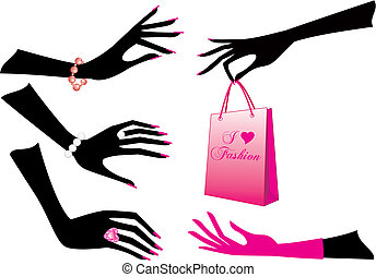 female hands, vector - Female hands with jewels and shopping...