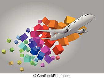 airliner - illustration of airplane with colorful cubes...