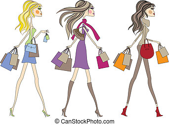 shopping woman - Fashion girls walking with shopping bags,...