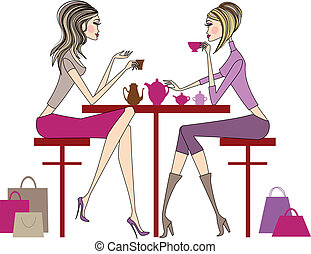 women drinking coffee - Woman sitting in coffee bar, vector