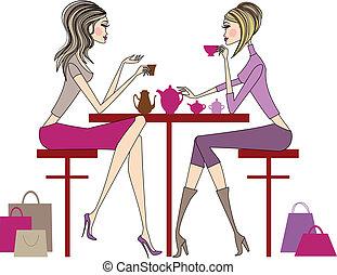 mulheres, bebendo, café