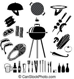 bbq - Bbq set. Set of the bbq and grill collection. cooking...