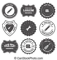 Screwdriver and bubble level, roulette. - Vintage emblems,...