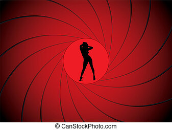 bond gun barrel - Sexy women dancing in a gun barrel sight...