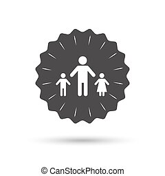 One-parent family with two children sign icon. - Vintage...