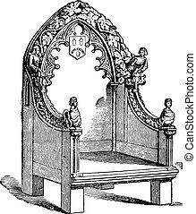 Fourteenth century chair, vintage engraving. - Fourteenth...