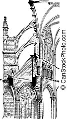 Amiens Cathedral, Cross section, vintage engraving.