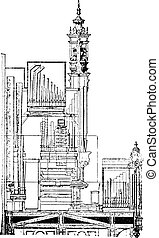 Cutting the organ of the Cathedral of Saint-Brieuc, vintage engraving.