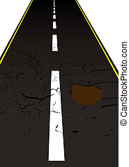 road pot hole - Main road with cracked mettled surface with...