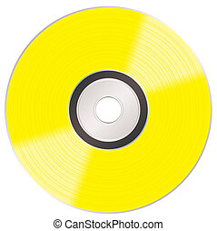 shiny gold cd - Music compact golden disc album illustration...