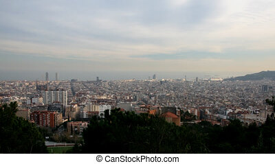 Barcelona skyline - Time lapse at sunset