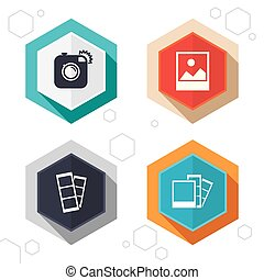 Photo camera icon Flash light and landscape - Hexagon...