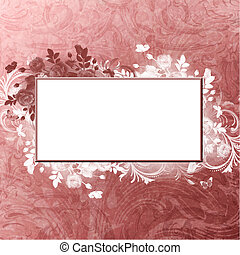 burgundy blank with white foliage on vintage background