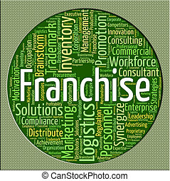 Franchise Word Represents Wordcloud Concession And...