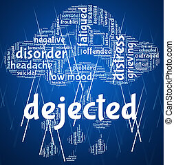 Dejected Word Indicates Miserable Melancholy And Wordcloud -...