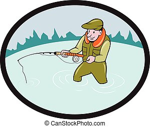 Fly Fisherman Casting Fly Rod Oval Cartoon