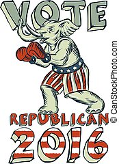 Vote Republican 2016 Elephant Boxer Isolated Etching -...