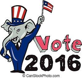Vote 2016 Republican Mascot Waving Flag Cartoon