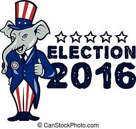 US Election 2016 Republican Mascot Thumbs Up Cartoon -...