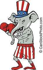 Republican Mascot Elephant Boxer Boxing Cartoon -...