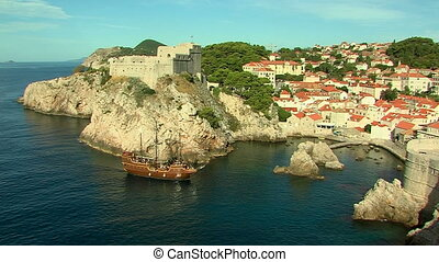ship in dubrovnik harbor