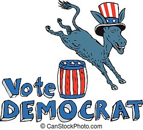 Vote Democrat Donkey Mascot Jumping Over Barrel Cartoon -...