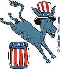 Democrat Donkey Mascot Jumping Over Barrel Cartoon -...