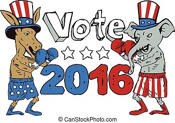 Vote 2016 Donkey Boxer and Elephant Mascot Cartoon -...