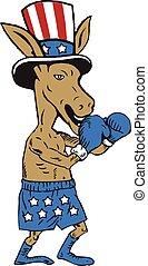 Democrat Donkey Boxer Mascot Cartoon - Illustration of a...
