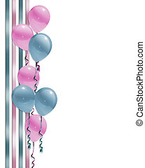 Balloons border baby shower - Pink and blue illustration...